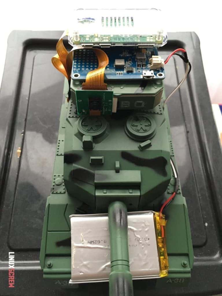 The Pi Camera is lighter, so the tank can move better